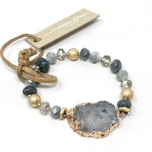 Raw Natural Stone Electroplated Bracelet